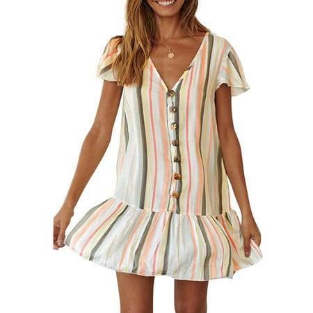 Dress For Women Summer Holiday Stripe Color Block Single-Breasted Pleated V-neck Short sleeve Casual Boho Mini Dresses Beach Sundress