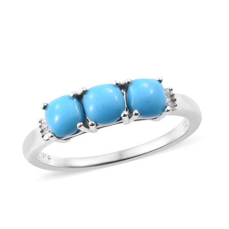 - Sleeping Beauty Turquoise Diamond Baguette 3 Stone Ring 925 Sterling Silver Platinum Plated Gift Jewelry for Women Ct 0.1
