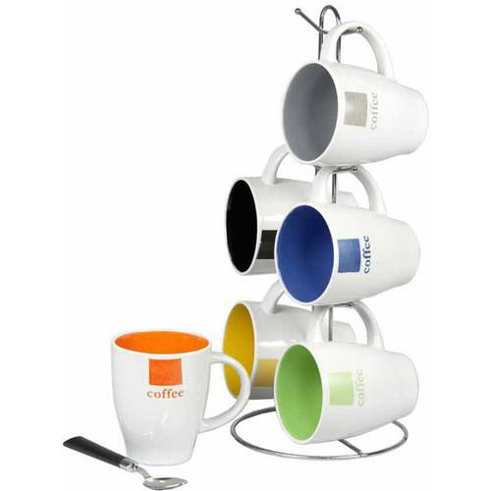 Home Basics Mug Set With Stand 6 Piece
