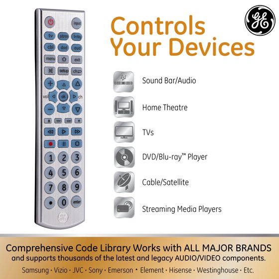 GE Universal Remote Control, 6 Devices, Backlit, Brushed Silver