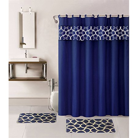 15-piece Hotel Bathroom Sets - 2 Non-Slip Bath Mats Rugs Fabric Shower Curtain 12-Hooks  GEOMATRIC NAVY