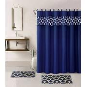 15-piece Hotel Bathroom Sets - 2 Non-Slip Bath Mats Rugs Fabric Shower Curtain 12-Hooks  GEOMATRIC NAVY