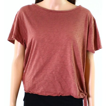 NYTT Womens Medium Tie-Hem Boat-Neck Burnout Knit Top