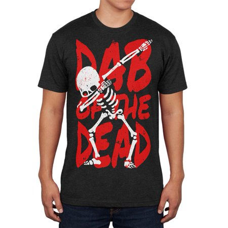 Halloween Day Dab of the Dead Skeleton Mens Soft T Shirt (Day Of The Dead Halloween Faces)