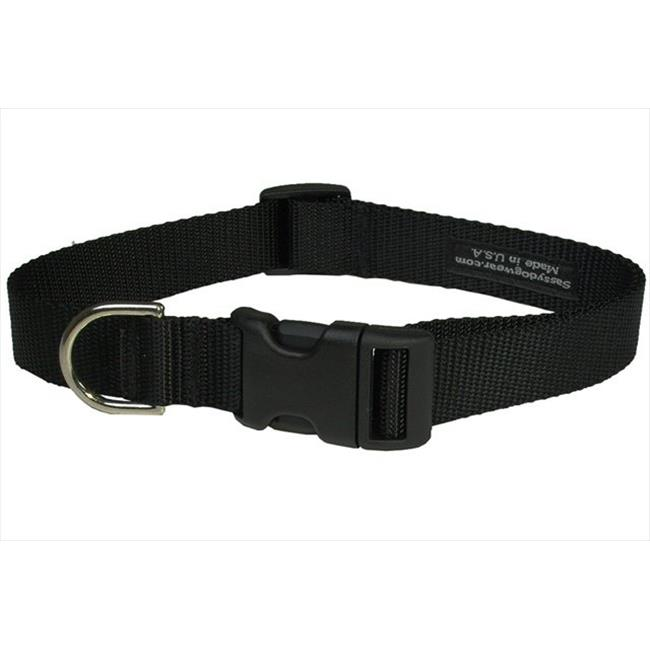 Nylon Webbing Dog Collar, Black - Large
