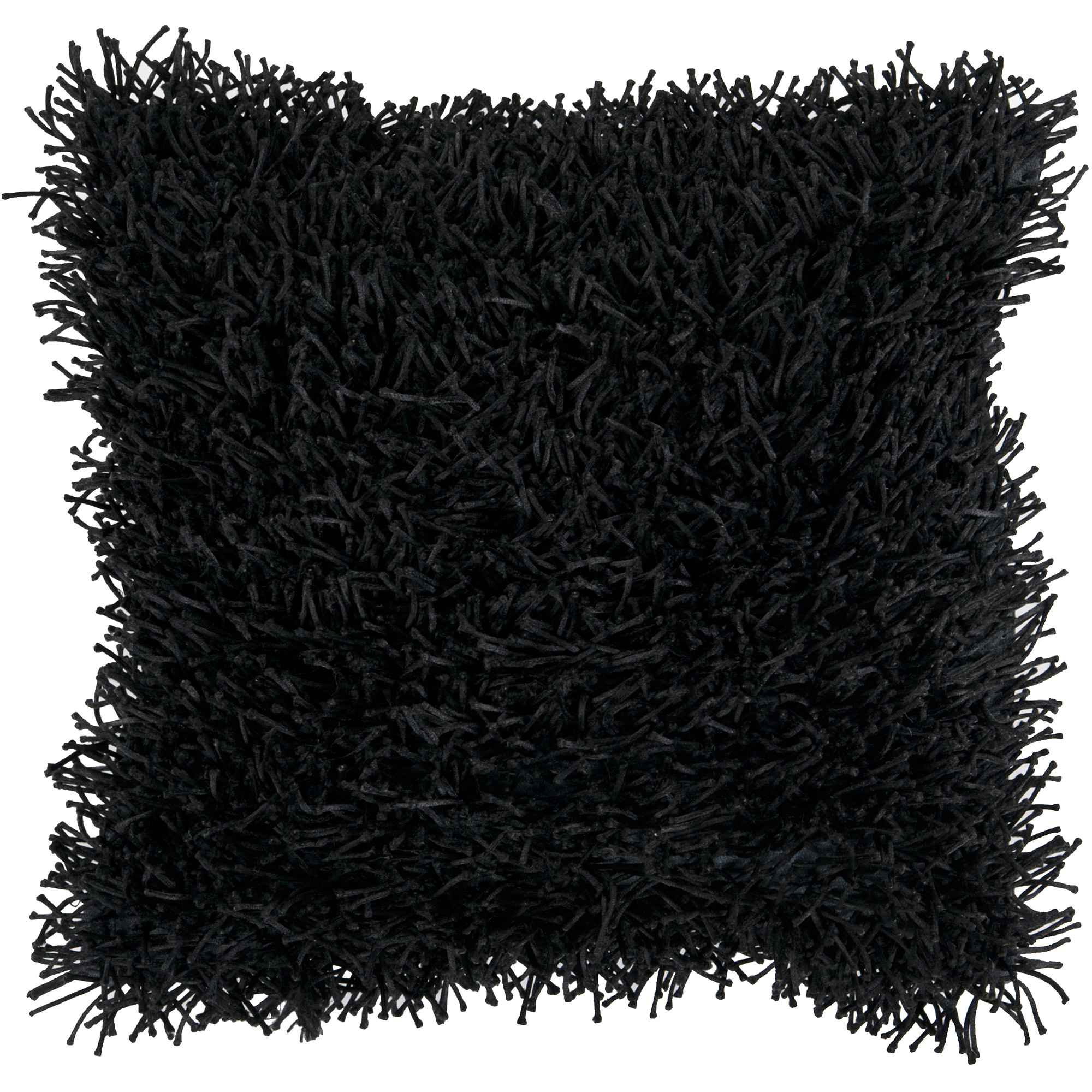 Art of Knot Shaggy Texture Hand Crafted Decorative Pillow, Black