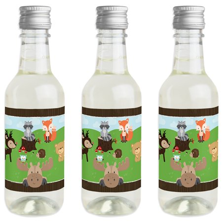 Woodland Creatures - Mini Wine and Champagne Bottle Label Stickers - Baby Shower or Birthday Party Favor Gift - 16 Ct. (Mini Champagne Bottles Bulk)