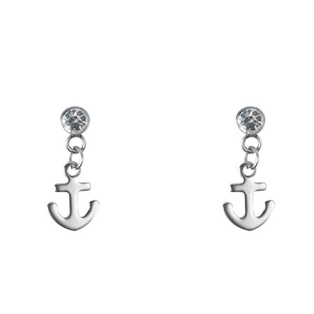JADA Collections Silver Tone Stainless Steel Unisex Stud Earrings with Dangle Charm, Anchor