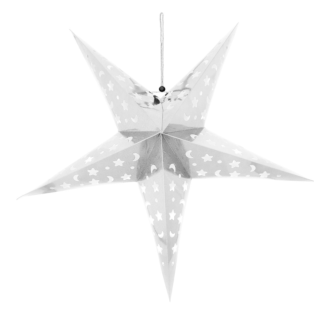 Home Party Paper Star Shaped Decor Christmas Tree Hanging Ornament Silver Tone - image 4 of 4