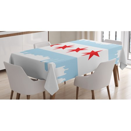 Chicago Skyline Tablecloth, City of Chicago Flag with High Rise Buildings Scenery National, Rectangular Table Cover for Dining Room Kitchen, 60 X 84 Inches, Red White Baby Blue, by Ambesonne
