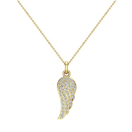 0.47 ct Angel Wing Diamond Pendant  Necklace 14K Yellow Gold Without Chain (I,I1) Popular