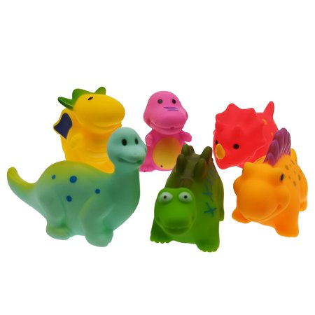 Animal Baby Dinosaur Baby Shower Water Toy Baby 6 Piece Set Bath Toys For Toddlers Squeaking Bathtub Floating Toys