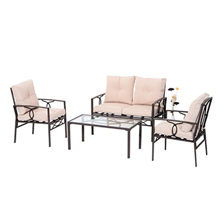 Admirable Outsunny 4 Piece Outdoor Rattan Wicker Loveseat And Chair Lamtechconsult Wood Chair Design Ideas Lamtechconsultcom