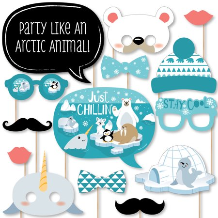 Animal Themed Baby Shower Ideas (Arctic Polar Animals - Winter Baby Shower or Birthday Party Photo Booth Props Kit - 20)
