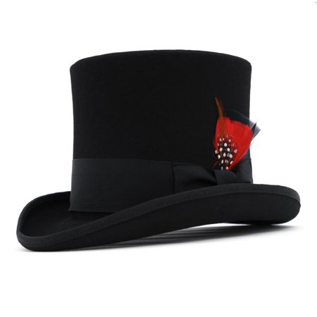 Ferrecci Men's Classic Wool Victorian Mad Hatter Steampunk Formal Top Hat