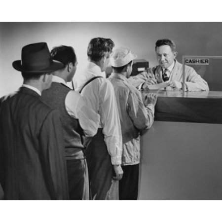 Group Of People Standing Inline At A Bank Counter Canvas Art     18 X 24