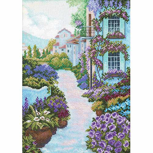 "RTO Blooming Town Counted Cross-Stitch Kit, 9-3/4"" x 13-3/4"", 14 Count"