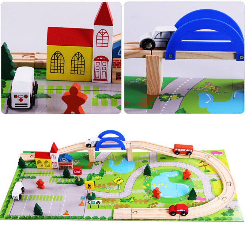 Wooden Children City Railway Train Track Toy Car Tree Bridge Puzzle Play Set
