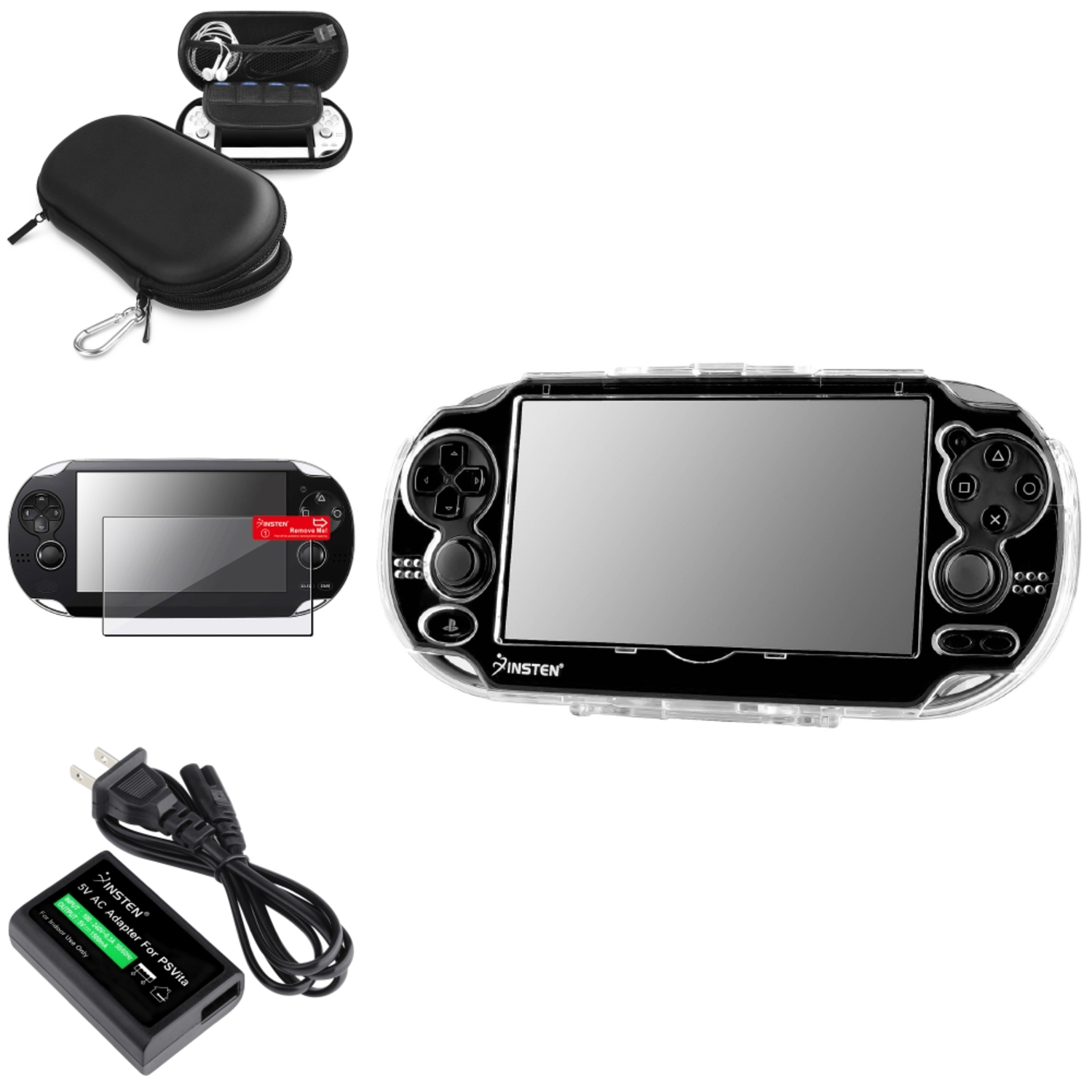 Insten Screen Protector+Blk EVA Case Pouch+Crystal Case+US AC Adapter For Sony PS Vita