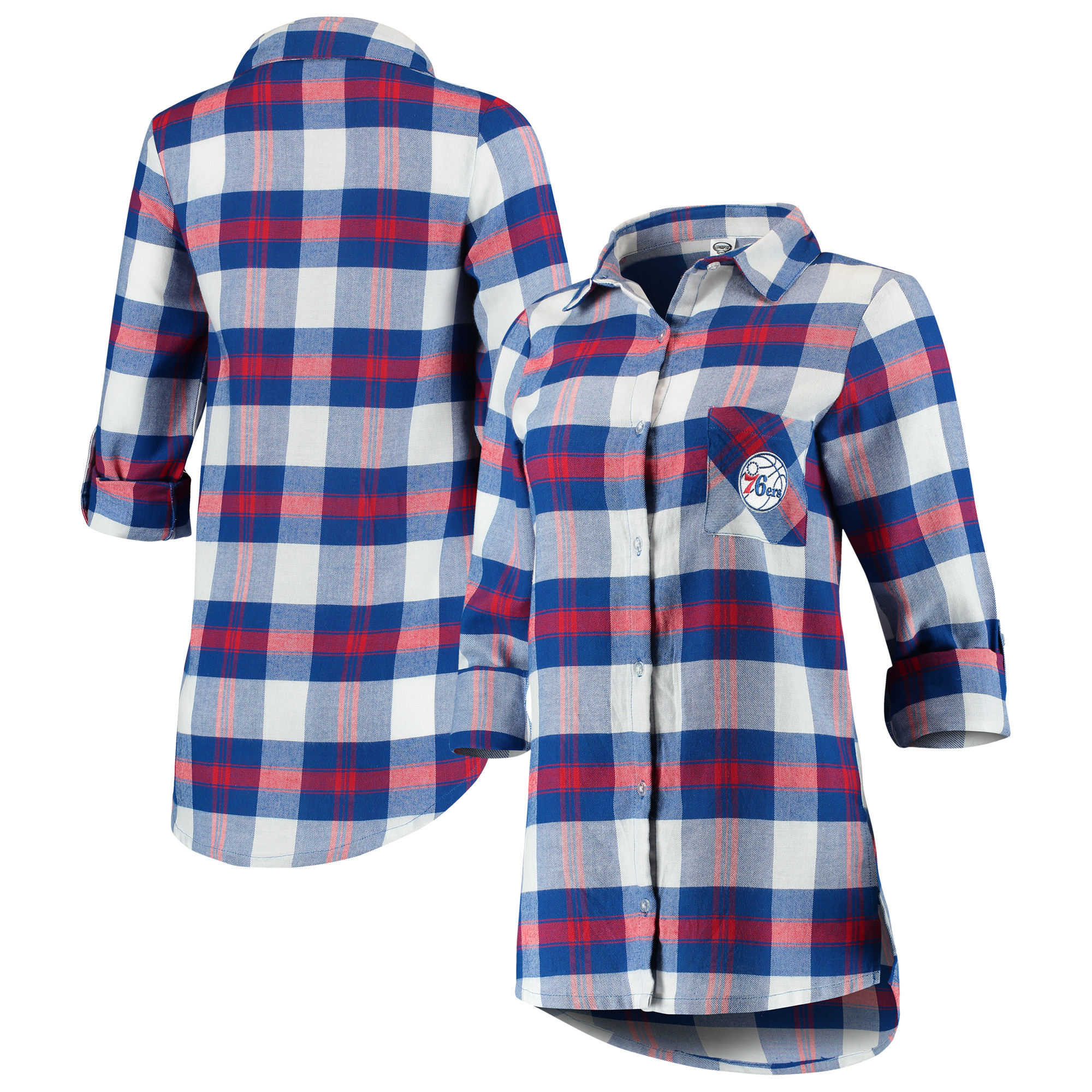 Philadelphia 76ers Concepts Sport Women's Headway Long Sleeve Plaid Tunic - Royal/Red