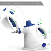 Comforday Multi-Purpose Steam Cleaner, Handheld pressurized portable steam cleaner with child lock function and 9-piece accessories (White And Blue Color)