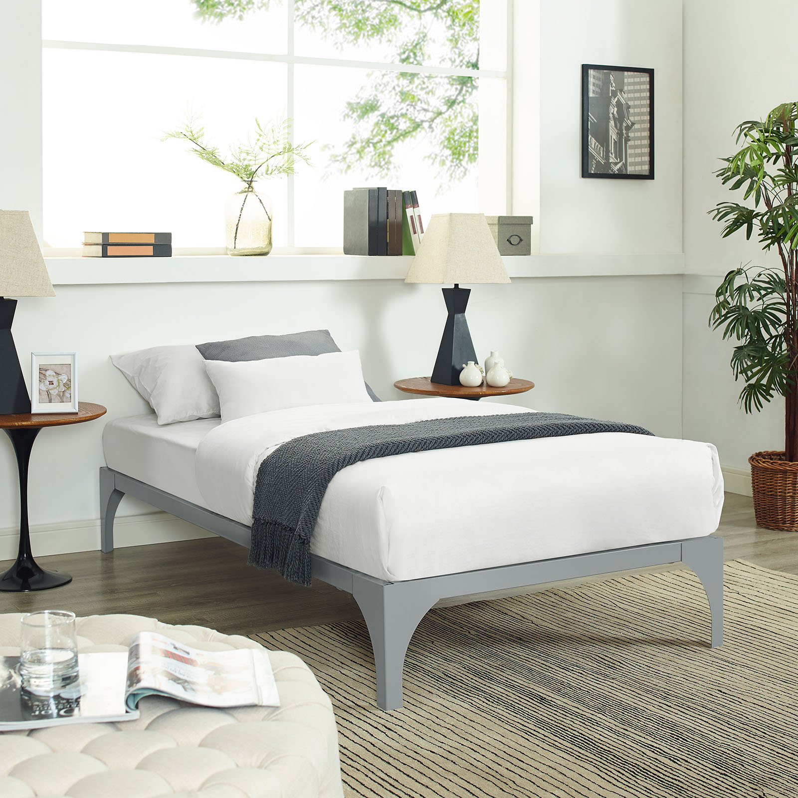 Modway Ollie Steel Platform Bed Frame, Multiple Sizes and Colors