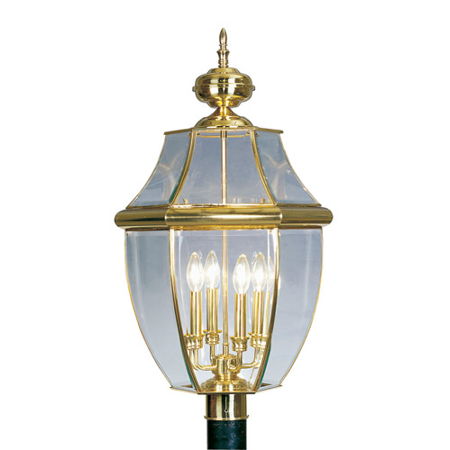 Outdoor Post 4 Light With Clear Beveled Glass Polished Brass size 29 in 240 Watts - World of