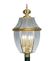 Outdoor Post 4 Light With Clear Beveled Glass Polished Brass size 29 in 240 Watts - World of Crystal