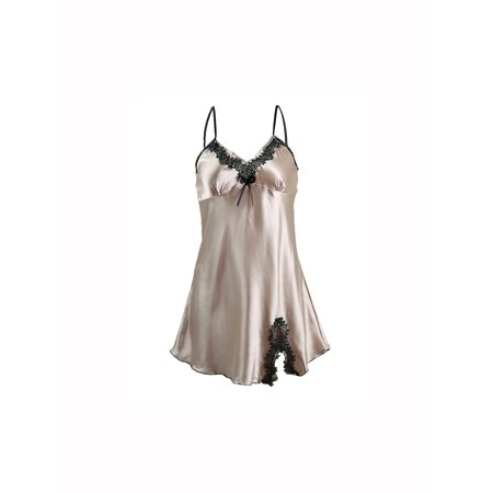 Unique Bargains Women's Satin Lace Sexy Trim Sleepwear Nightgown Pajama Slip (Valentine's Day Pajamas)