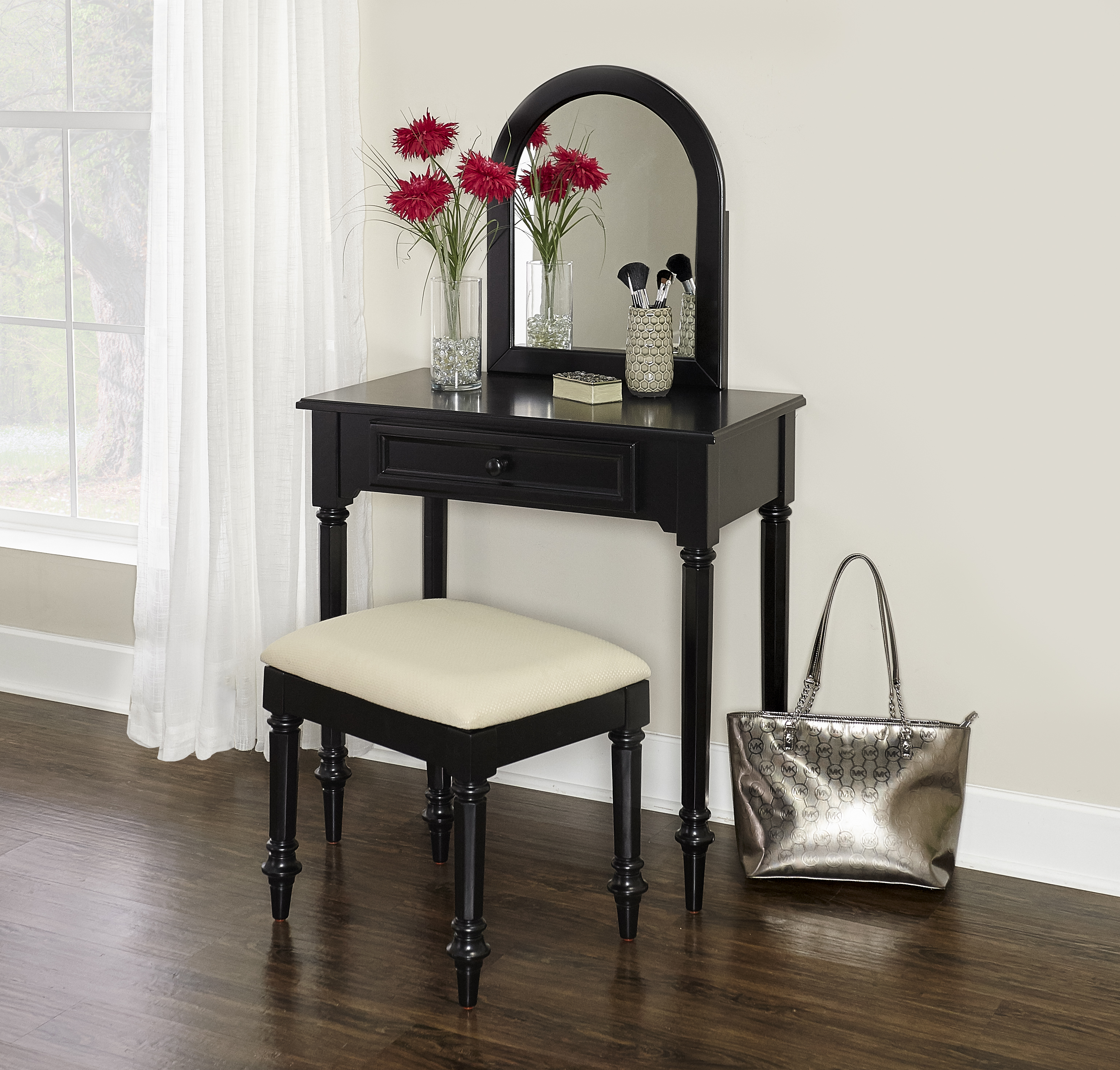 Blackledge Vanity with Stool, Black by Powell