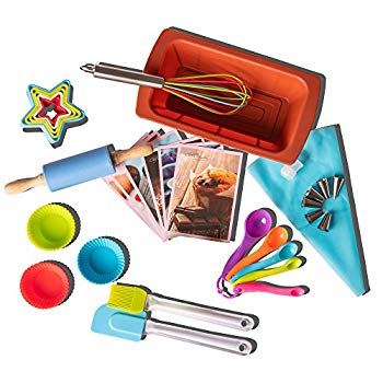 Rikis kingdom Kids Deluxe real baking//cooking set in a storage box with recipes//Cupcake cups//decorating kit//Cookie Cutters//Measuring Spoons//whisk//Rolling Pin Deluxe set/&kid Apron/&chef Hat/&Cutters