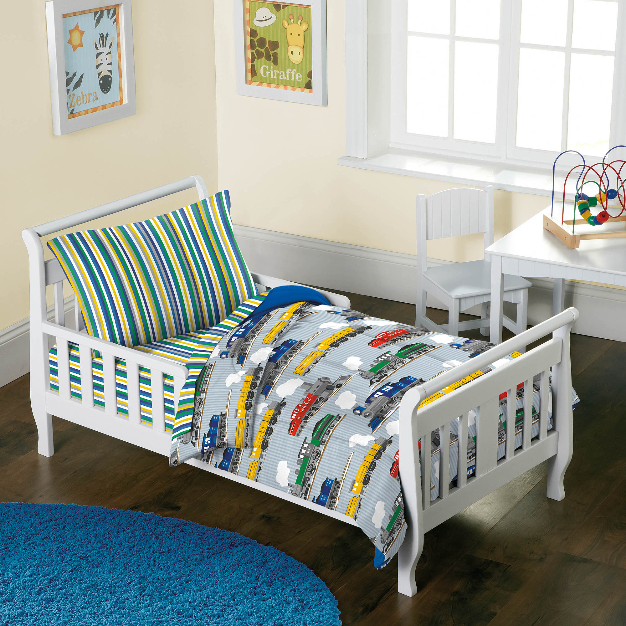 Dream Factory Trains 4-Piece Toddler Mini Bed in a Bag Bedding Set
