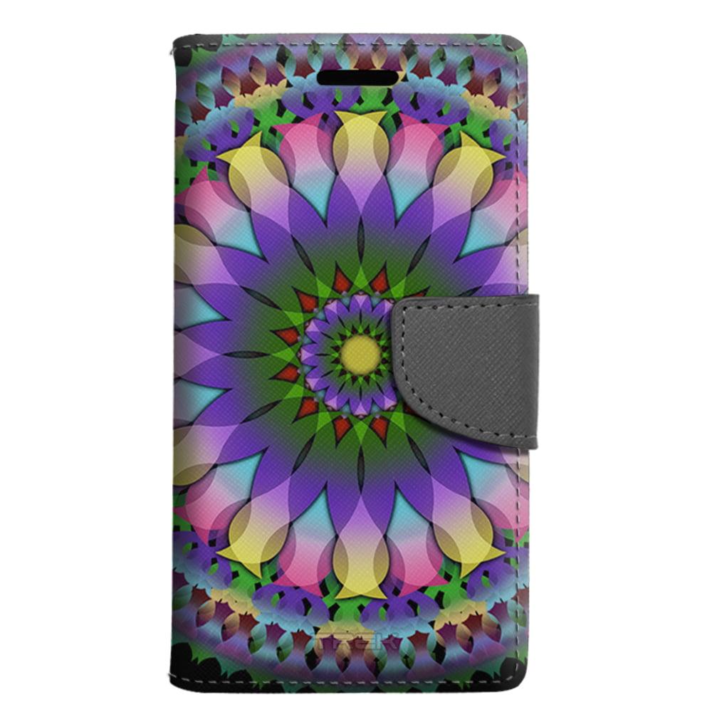 Motorola G5 Plus Wallet Case - Mandala Pastel Pink Lemonade on Black Case