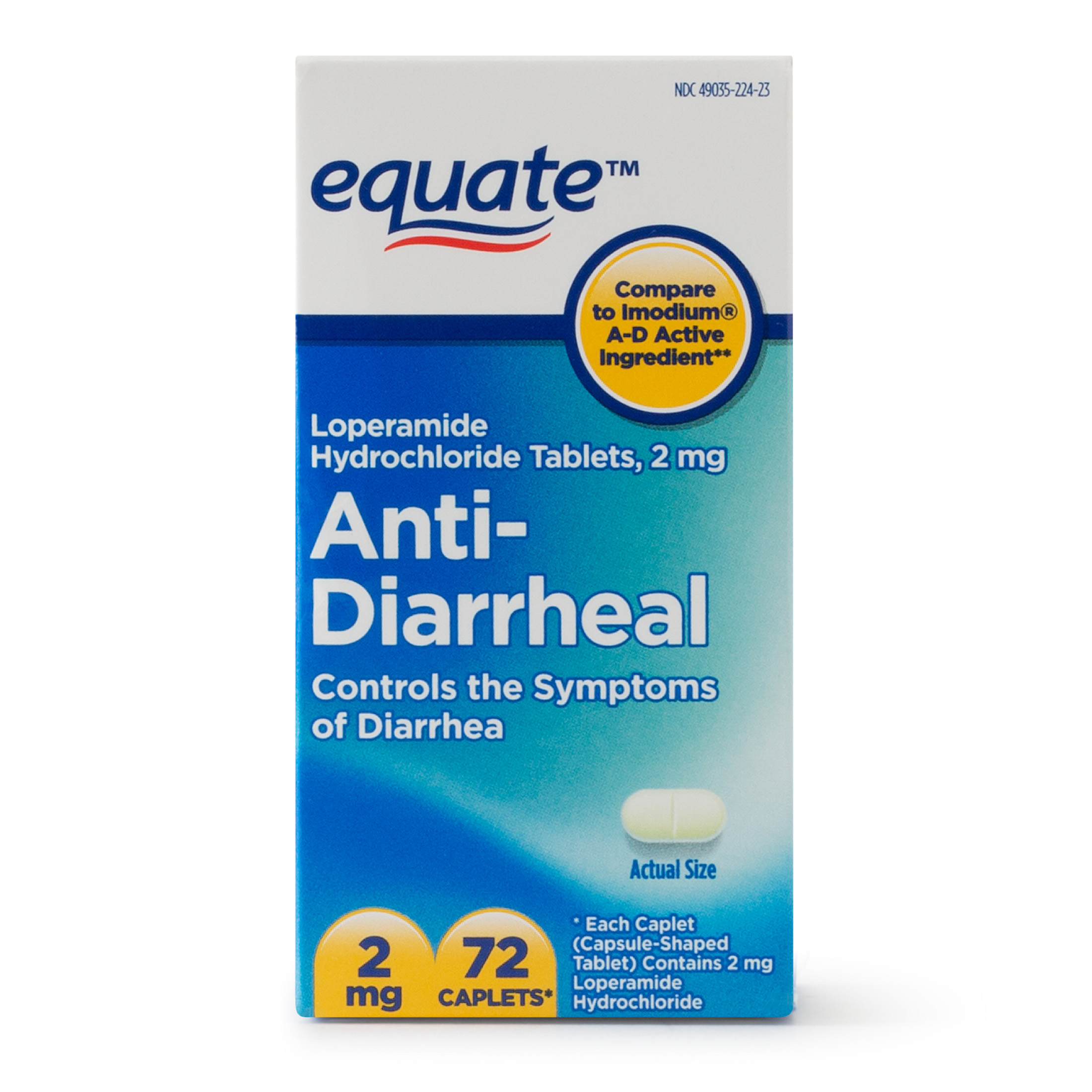 Equate Anti-Diarrheal Loperamide Hydrochloride Caplets, 2 mg, 72 Ct