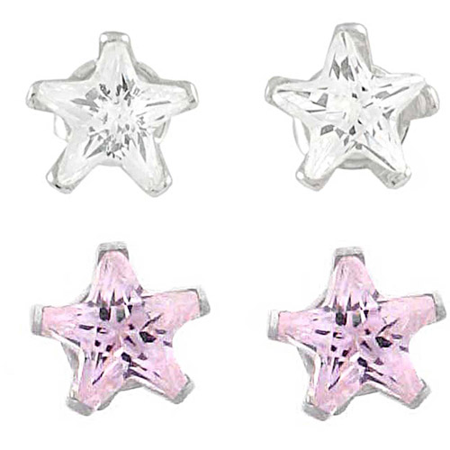 Brinley Co. Pink and Clear CZ Sterling Silver Star Stud Earrings Set