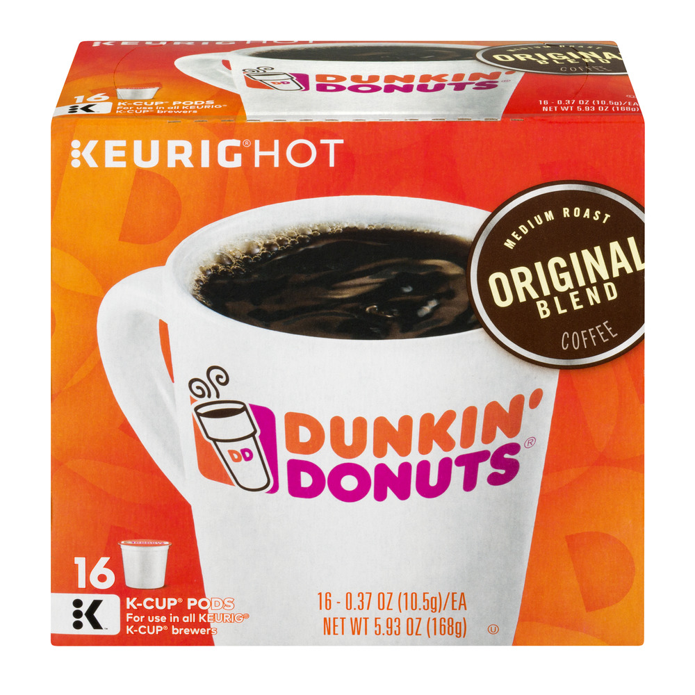 Dunkin' Donuts Original Blend Coffee K-Cup Pods, Medium Roast, 16 Count