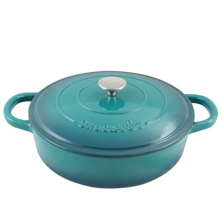 Crock Pot Artisan Enameled Cast Iron 5 Qt Round Braiser Pan with Self Basting Lid, Teal Ombre