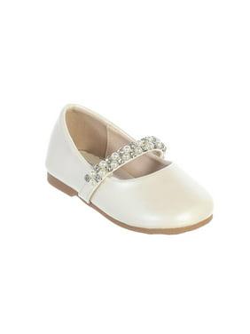Little Girls Ivory Rhinestone Pearl Strap Elegant Mary Jane Shoes