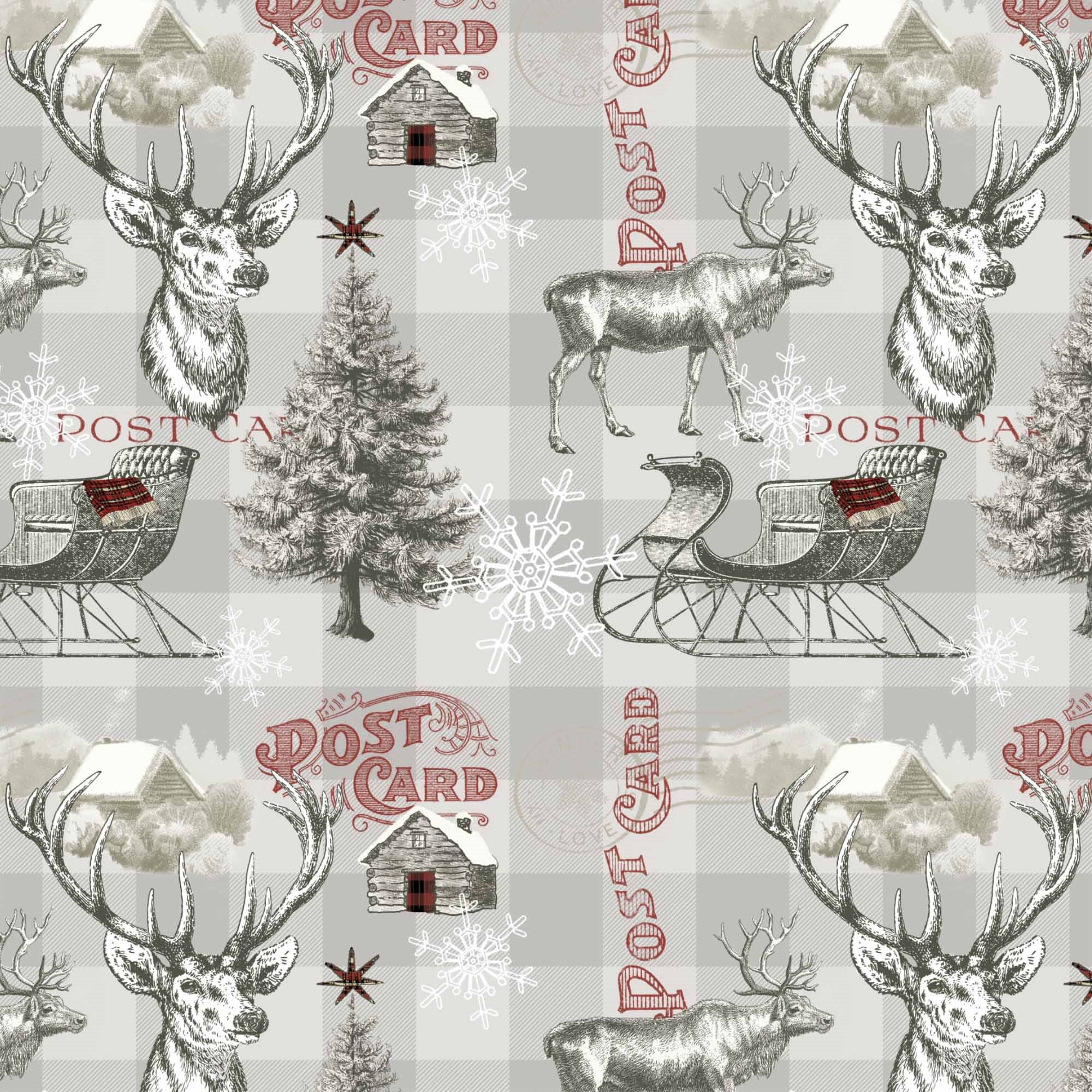 DAVID TEXTILES WINTER REINDEER 1 YD. CUT COTTON FABRIC