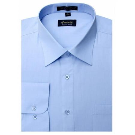 Amanti CL1007-15 1-2x32-33 Amanti Mens Wrinkle Free Baby Blue Dress Shirt - Baby Blue-15 1-2 x 32-33