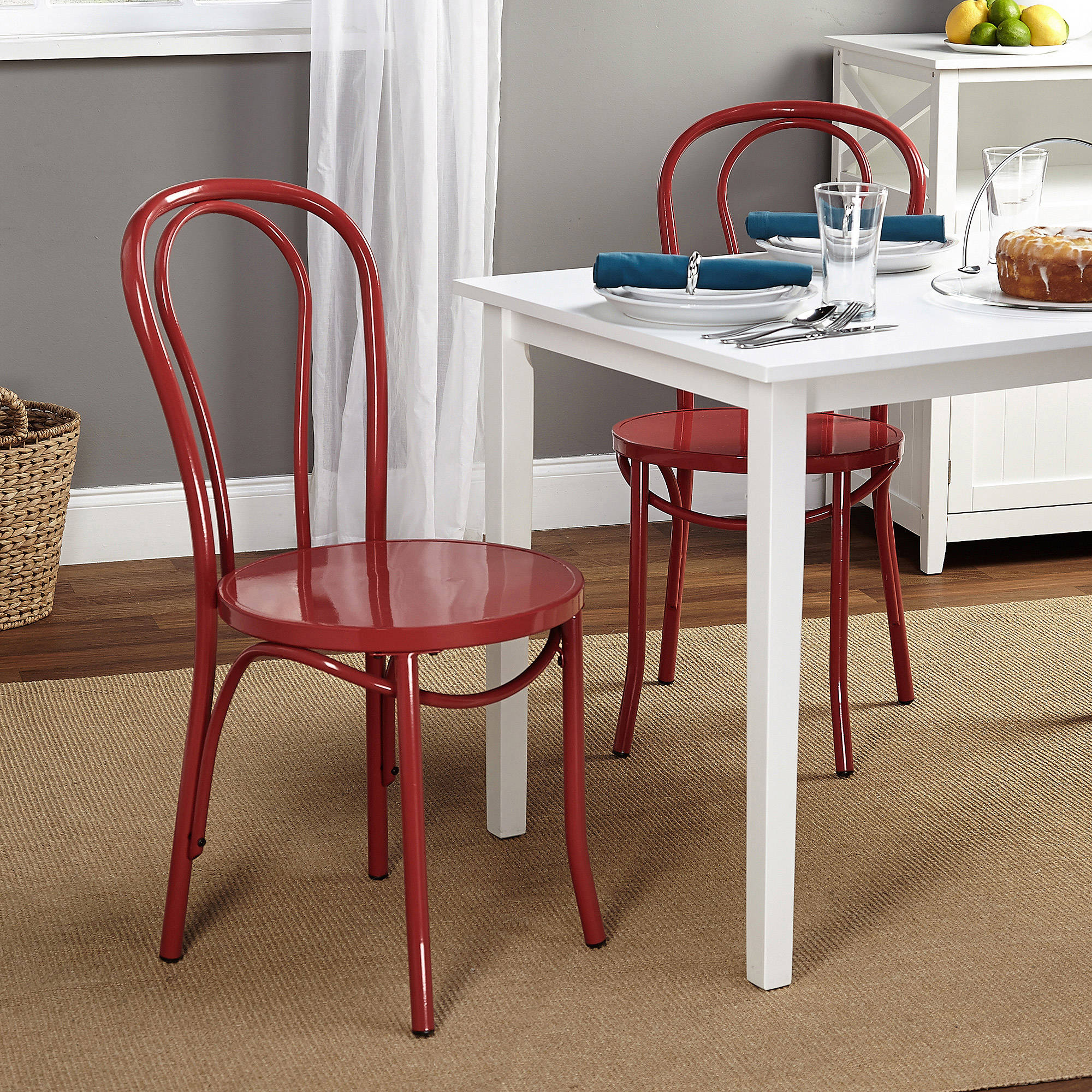 Vintage Inspired Cafe Chair, Set of 2, Multiple Colors