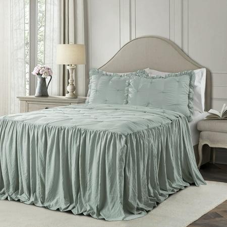 Lush Decor Ravello Pintuck Polyester Bedspread, Queen, Blue, 3-Pc Set