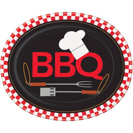Unique Industries Backyard BBQ Oval Paper Plates, 12.25 in, 8ct (Oval Paper Plates)