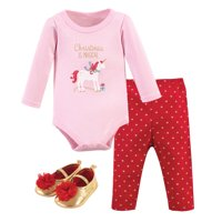 Hudson Baby Girl Bodysuit, Pants & Shoes, 3pc Outfit Set