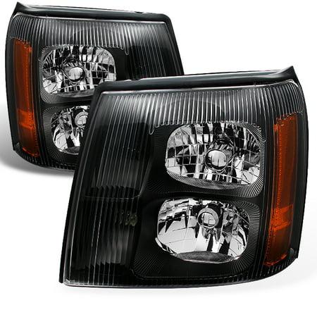 Fit 2002 Escalade Black Bezel Halogen Type Headlights Front Lamps Replacement