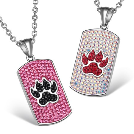 Wolf Paw Austrian Crystal Love Couples or Best Friends Dog Tag Fuscia Pink Black Rainbow White Necklaces Crystal Dog Tag Necklace