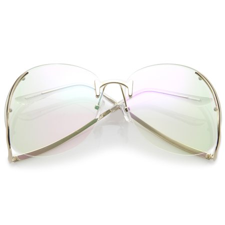 Women's Rimless Curved Metal Arms Round Clear Lens Oversize Eyeglasses 67mm (Gold / (Clip On Sunglasses For Rimless Eyeglasses)