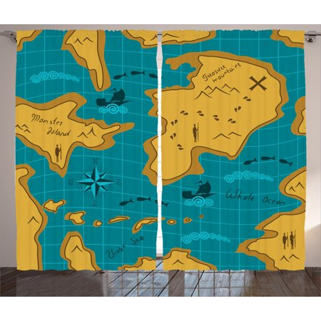 Island Map Decor Curtains 2 Panels Set  Historical Adventure Map With Sail Boats Route Track Graphic Art Work  Window Drapes For Living Room Bedroom  108W X 84L Inches  Orange Blue  By Ambesonne