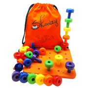 Skoolzy Peg Board Set Montessori Toys Toddlers Preschoolers Stacking Lacing Learning Games 34 pc Set with Storage Bag