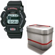 Men's G-Shock Watch with Reusable Gift Tin, Red Accents with Black Resin Strap